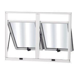 Maxim-Ar Alumínio 2 Folhas MGM Sólida 60cmx160cm Vidro Mini Boreal Branco