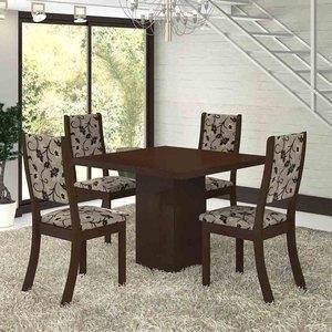 Conjunto para Sala de Jantar Mesa e 4 Cadeiras Viero Dunia Choco/Medina
