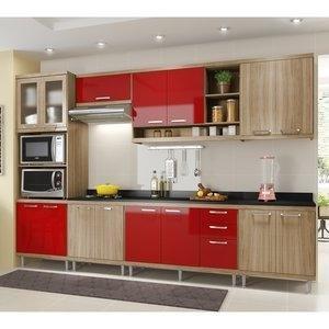 Cozinha Compacta 5141 Sicília Multimóveis (Não Acompanha Tampo) Argila/Vermelho Scarlet