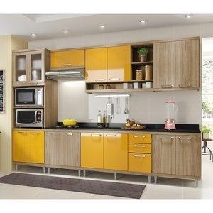 Cozinha Compacta 5141 Sicília Multimóveis (Não Acompanha Tampo) Argila/Amarelo Gema