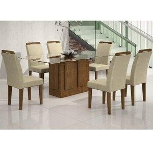 Conjunto Sala de Jantar Mesa Tampo Vidro 180cm Amsterdã 6 Cadeiras Athenas Rufato Ypê/Matelassê