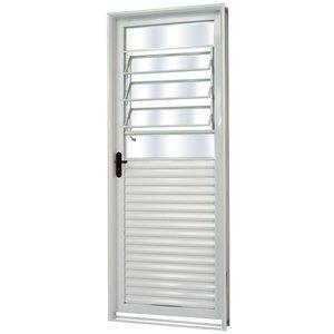 Porta de Aço com Basculante Vidro Liso Minas Sul MGM 217cmx85cm Branco