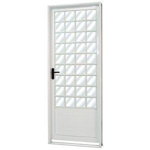 Porta de Aço com Vidro Liso Minas Sul MGM 217cmx85cm Branco