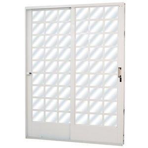 Porta de Correr Aço 2 Folhas com Vidro Mini Boreal Minas Sul MGM 215cmx160cm Branco