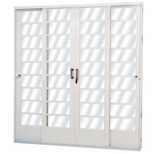 Porta de Correr Aço 4 Folhas com Vidro Liso Minas Sul MGM 215cmx200cm Branco