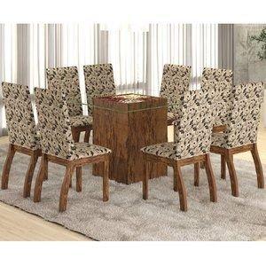 Conjunto para Sala de Jantar Mesa e 8 Cadeiras Ale Viero Avelã/Medina