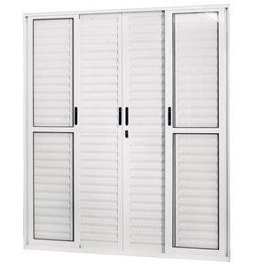 Porta de Correr Alumínio 6 Folhas com Vidro Liso Sólida MGM 210cmx200cm Branco