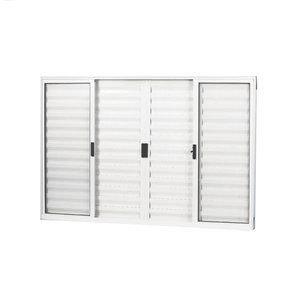 Janela Veneziana Alumínio 6 Folhas MGM Soft 100cmx150cm  Vidro Liso Incolor Branco