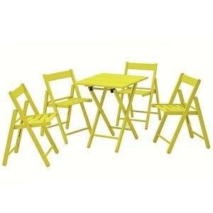 Conjunto Mesa e 4 Cadeiras Dobráveis Aconchego Tramontina Amarelo